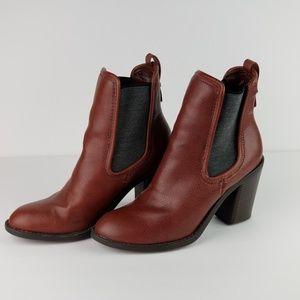 Merona Burgundy Faux Leather Chunky Heel Bootie